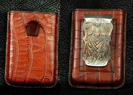 hand crafted exotic leather card wallet with sterling silver money clip by sage creek stock