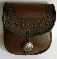 celtic border leather belt pouch medium