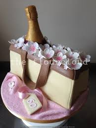 Bottle Of Champagne In A Pretty Handbag With Flowers Birthday Cake