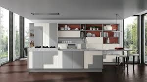 unique modern gray and white island kitchen cabinets brown laminated flooring wall open shelver plastes floorlamp windows glass gas cooktops built in oven