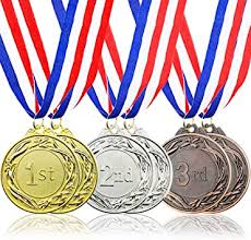 Amazon.com : Juvale 6-Piece Set Metal Olympic Style Award Medals with  Ribbons in Gold, Silver, and Bronze : Office Products