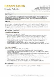 computer support technician resume computer technician resume samples qwikresume