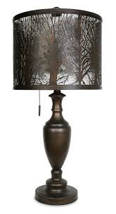 bean bronze table lamp with cut out shade