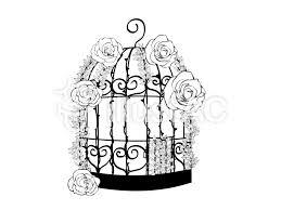おしゃれな鳥籠薔薇とイバラつきイラスト No 740161無料イラスト
