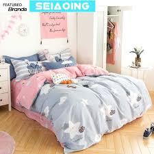 pretty duvet covers cute star cloud bedding sets girl cotton cartoon pink grey comforter covers queen