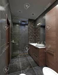 Design Badezimmer Im Modernen Stil Mit Dusche Und Badewanne Weiß