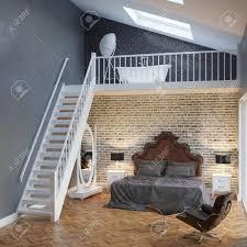 Große Schlafzimmer Innenraum Mit Treppen Und Vintage Möbel