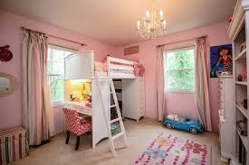 bunk bed with desk underneath kids traditional with bookcase chandelier desk loft bed pink pink