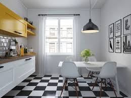 Gray And Yellow Kitchen Decor Kitchen Gray Pendant Light Chequered Floor Kitchen Mustard