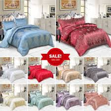 details about 4 piece royal luxury satin silk duvet cover bedding set king double size