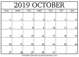 Free Printable Blank Calendar October 2019 Free Printable