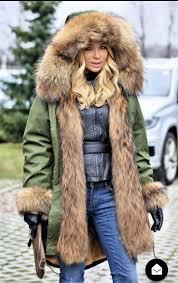 jazzevar women s luxury large raccon fur collar cuff hooded coat detachable rabbit liner parkas outwear long
