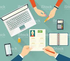 Job interview with business cv resume. Vector flat illustration  royalty-free stock vector art