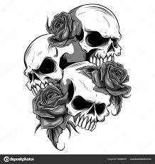 Lidská Lebka Růží Stylu Tetování Stock Vektor Deanzangir At Gmail