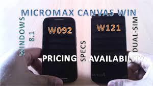 Micromax Canvas Win W092 & W121 - Specs ...