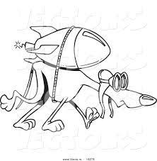 Small Picture Vector of a Cartoon Rocket Strapped to a Greyhound Outlined