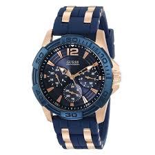 guess u0366g4 men s iconic signature blue dial rose gold steel guess u0366g4 men s iconic signature blue dial rose gold steel blue silicone strap watch