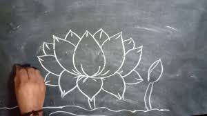 Learn how to draw dotted lines with a marker! Drawing A Simple Lotus Flower With Chalk On Black Board Lotus Drawing Flower Drawing Drawings