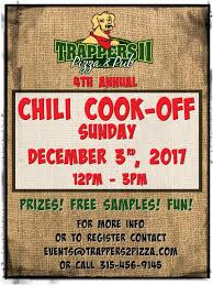 chili supper flyer 4th annual chili cook off trappers ii pizza pub