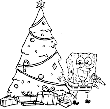Spongebob Happy Christmas Coloring Page