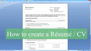 how to create resume in microsoft word how to write a resume cv with microsoft word youtube