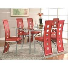 red dining chairs contemporary red leatherette keyhole back dining chair set of 2 furniture red dining room chairs canada