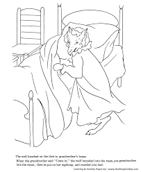 Wolf Hoop To Grandma Bed Fool Red Riding Hood Coloring Pages Little
