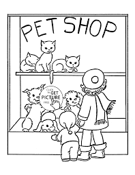 Pet Shop Coloring Page For Kids
