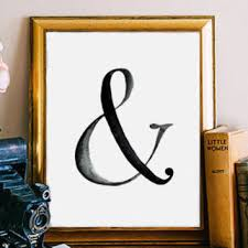 ampersand print typography poster black and white ampersand sign
