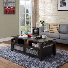 dark brown coffee table. Dark Brown Wood Coffee Table With Drawers Light Grey Medium Fur Rug Fabric Cushion Sofa Pastel Color Polkadot Pillow And Beige C