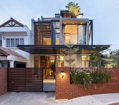 Modern Semi Detached House Design A Semi Detached House In Singapore Connects To Its