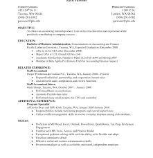 Accounting Internship Resume Objective Resume Samples Examples