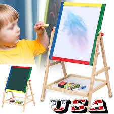 2 in 1 kid standing art easel wooden chalk drawing board double side white black