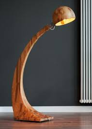 wooden floor lamp curve