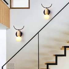 Led Wall Light Nordic Modern Deer Antlers Black White Solid Wood Novelty Animal Wall Lamp Home Fixtures For Bedroom Living Room
