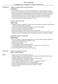 Export Resume Samples Velvet Jobs