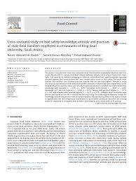 cross sectional study on food safety knowledge attitude and cross sectional study on food safety knowledge attitude and practices of male food handlers employed in restaurants of king saud university saudi arabia