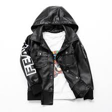faux leather jacket kid boy autumn winter teenage pu leather coat fashion hooded jacket with zipper children boys outerwear quilted boys jackets toddler boy