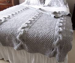 amazing gray cable knit blanket with sheets and pillows also queen bed and night lamp for