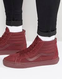 vans sk8 hi zip leather sneakers in red v004kyjuw