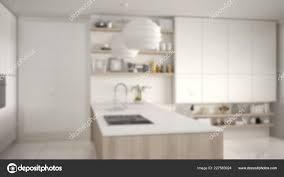 Modern Kitchen Shelves Design Blur Background Interior Design Modern Kitchen Shelves