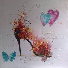 hand painted modern home decoration wall decor art picture for living room beautiful high heel