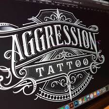 Working After Hours For Aggression Tattoo Studio Handlettering