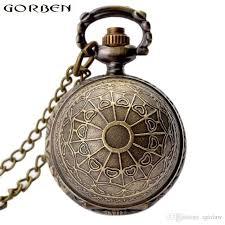 retro golden snitch harry potter necklace pocket watch bronze ball shape quartz vintage clock with chain pendant men women gifts vintage pocket watches