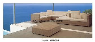 Elegant Outdoor L Foam Rattan Sofa With Cushions Modern Design
