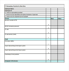 It Services Onboarding Checklist Excel Format Template