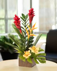 office floral arrangements. Capture The Botanical Beauty Of Islands For Your Home And Office With Our Torch Ginger Orchid Artificial Tropical Flower Arrangement At Petals. Floral Arrangements H