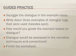 fictional narrative extended constructed response essay ppt guided practice squiggle the dialogue in the example essay