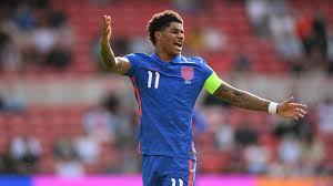 Lettering in blue paint was daubed over the black and white. Euro 2020 Group D Marcus Rashford On The Bench Jadon Sancho In The Stands England Croatia Lines