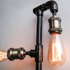 stylish ideas steampunk light fixture black iron pipe lamp living room wall the steel fixtures parts for